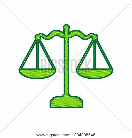 Scales balance sign. Vector. Lemon scribble icon on white background. Isolated
