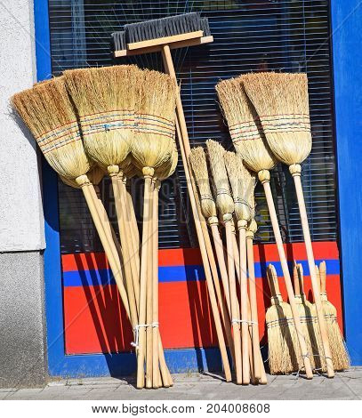 New sweepers next to a shop outdoor