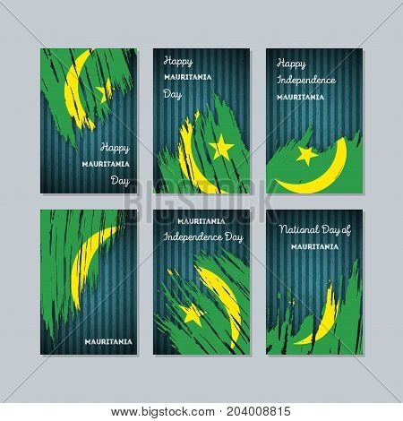 Mauritania Patriotic Cards For National Day. Expressive Brush Stroke In National Flag Colors On Dark