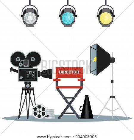 Film directors chair with megaphone projector camera and clapboard. Work on the set of the film. Flat vector cartoon illustration. Objects isolated on a white background.
