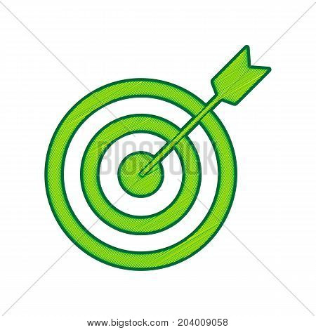 Target with dart. Vector. Lemon scribble icon on white background. Isolated