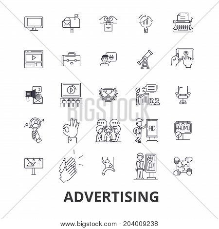 Advertising, marketing, media, social, billboard, news, television, branding line icons. Editable strokes. Flat design vector illustration symbol concept. Linear signs isolated on white background