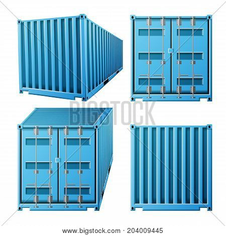 3D Cargo Container Vector. Classic Cargo Container. Freight Shipping Concept. Logistics, Transportation Mock Up. Isolated On White Background Illustration