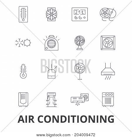 Air conditioning, hvac, coolling, heating, refrigerator, thermostat, thermometer line icons. Editable strokes. Flat design vector illustration symbol concept. Linear signs isolated on white background