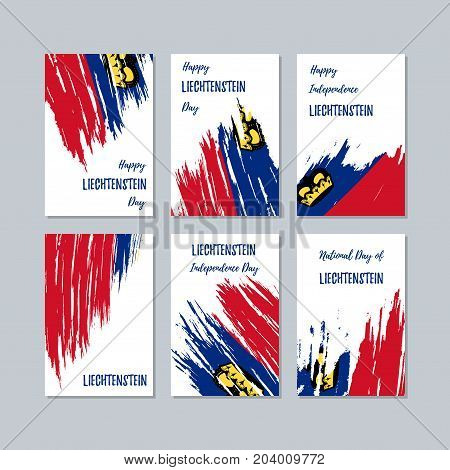 Liechtenstein Patriotic Cards For National Day. Expressive Brush Stroke In National Flag Colors On W