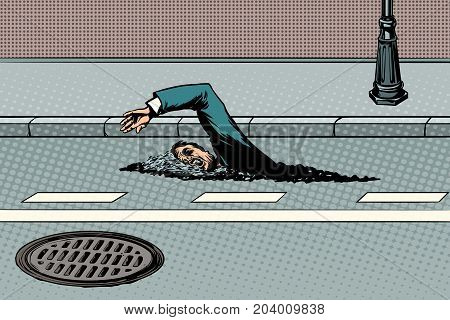 Businessman floating on the road like a river. Pop art retro vector illustration