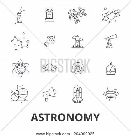 Astronomy, astrology, space, star, telescope, galaxy, planet, moon, science line icons. Editable strokes. Flat design vector illustration symbol concept. Linear signs isolated on white background