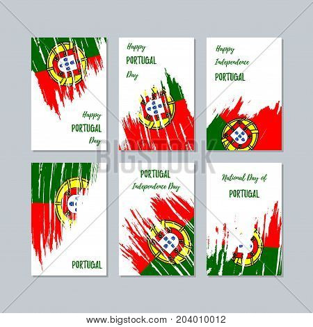 Portugal Patriotic Cards For National Day. Expressive Brush Stroke In National Flag Colors On White