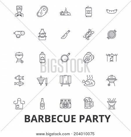 Barbecue party, grill, garden party, meat, picnic, barbecue food, fish, beer line icons. Editable strokes. Flat design vector illustration symbol concept. Linear signs isolated on white background
