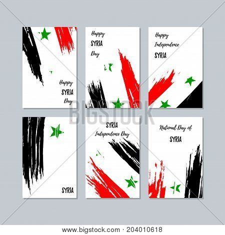 Syria Patriotic Cards For National Day. Expressive Brush Stroke In National Flag Colors On White Car