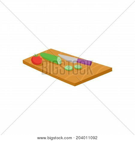 Cutting board, knife, tomato and cucumber vegetables, whole and sliced, cartoon vector illustration isolated on white background. Cartoon chopping board, knife and vegetables