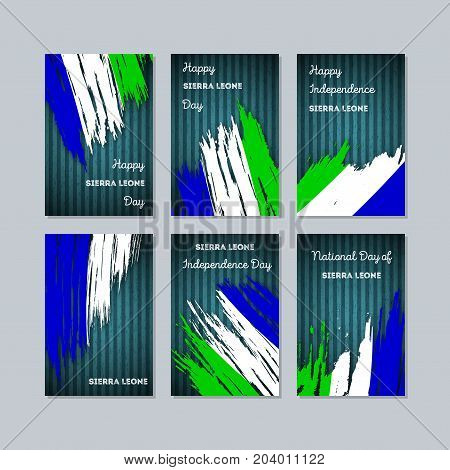 Sierra Leone Patriotic Cards For National Day. Expressive Brush Stroke In National Flag Colors On Da