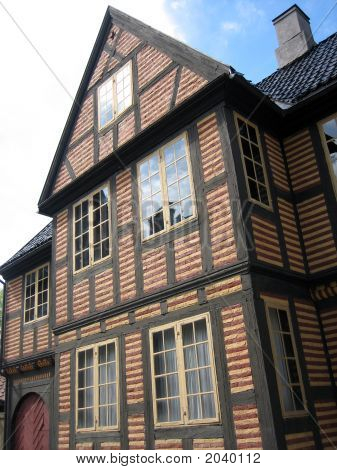 Old Scandinavian Town House As Found In Oslo Norway