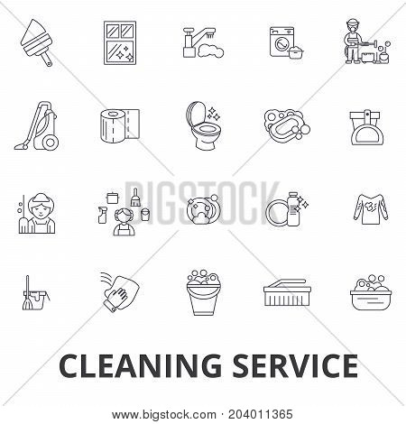 Cleaning service, house cleaning, office cleaning, cleaning supplies, cleaner line icons. Editable strokes. Flat design vector illustration symbol concept. Linear signs isolated on white background