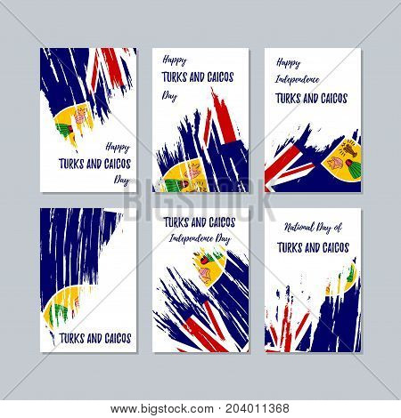 Turks And Caicos Patriotic Cards For National Day. Expressive Brush Stroke In National Flag Colors O