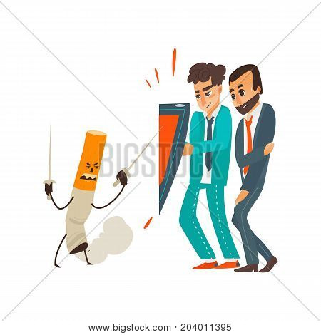 vector flat cartoon male doctor holding shield protecting businessman patient from mental illness - nicotine addiction fighting with cigarette. Isolated illustration on a white background