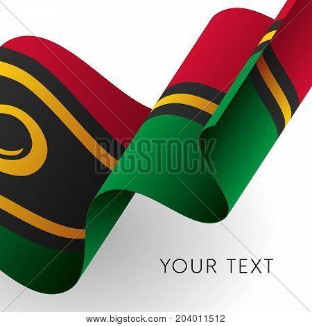 Vanuatu flag. Patriotic design. Waving flag. Vector illustration.