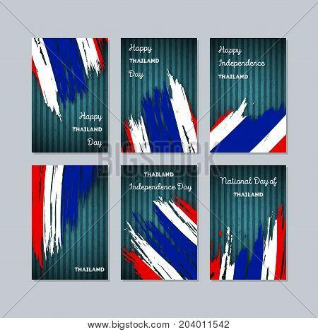 Thailand Patriotic Cards For National Day. Expressive Brush Stroke In National Flag Colors On Dark S