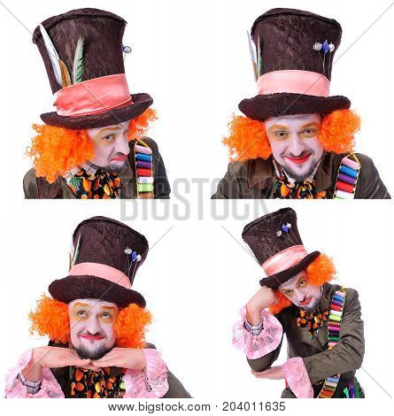 Collage Of Few Pictures. Mad Hatter's Different Facial Emotions. Close-up Portrait Of Smiling And Fo