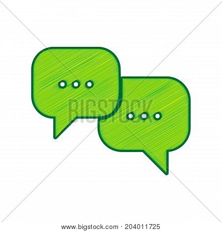 Speech bubbles sign. Vector. Lemon scribble icon on white background. Isolated