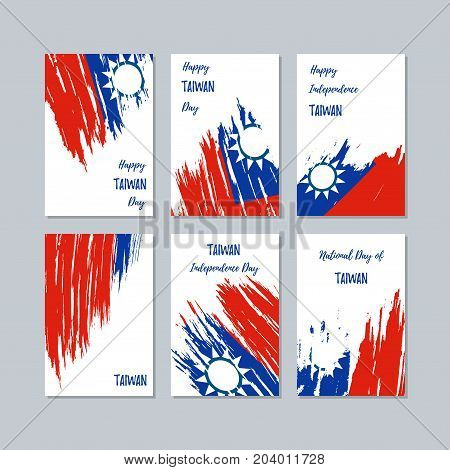 Taiwan Patriotic Cards For National Day. Expressive Brush Stroke In National Flag Colors On White Ca