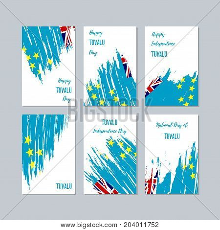 Tuvalu Patriotic Cards For National Day. Expressive Brush Stroke In National Flag Colors On White Ca