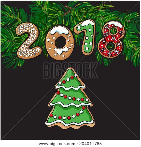 2018 Christmas, New Year greeting card design with Xmas tree gingerbread cookie, sketch vector illustration on on fir tree branches background. 2018 New Year greeting card with gingerbread cookie