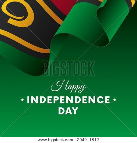 Banner or poster of Vanuatu independence day celebration. Waving flag. Vector illustration.
