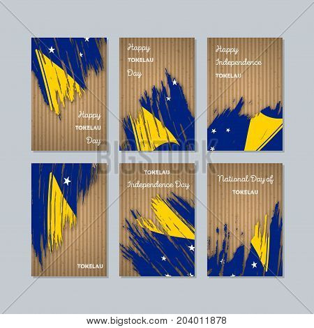 Tokelau Patriotic Cards For National Day. Expressive Brush Stroke In National Flag Colors On Kraft P