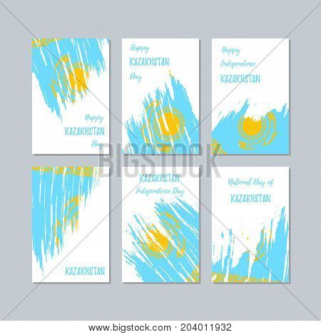 Kazakhstan Patriotic Cards For National Day. Expressive Brush Stroke In National Flag Colors On Whit