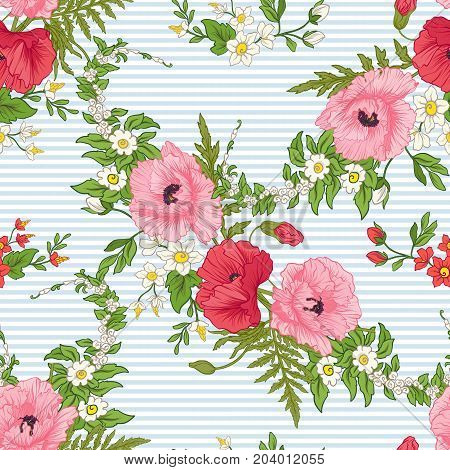 Seamless pattern with poppy flowers, daffodils, anemones, violets in botanical vintage style. On blue and white stripes background . Stock line vector illustration.