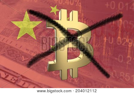 Strikethrough Bitcoin symbol, with the financial data and Chinese flag visible in the background.