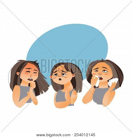 Woman having flu symptoms - fatigue, runny nose, cough, cartoon vector illustration isolated on white background with speech bubble
