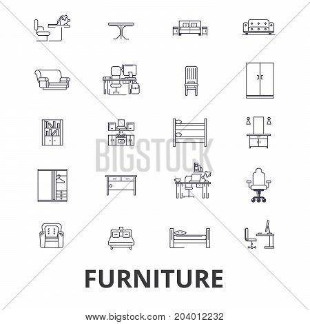 Furniture, furniture design, interior, chair, office furniture, living room line icons. Editable strokes. Flat design vector illustration symbol concept. Linear signs isolated on white background