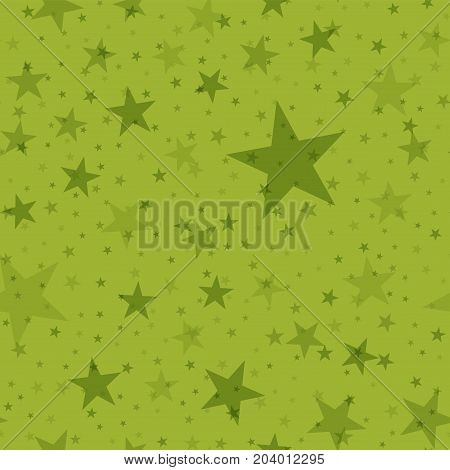 Olive Stars Seamless Pattern On Green Background. Classy Endless Random Scattered Olive Stars Festiv