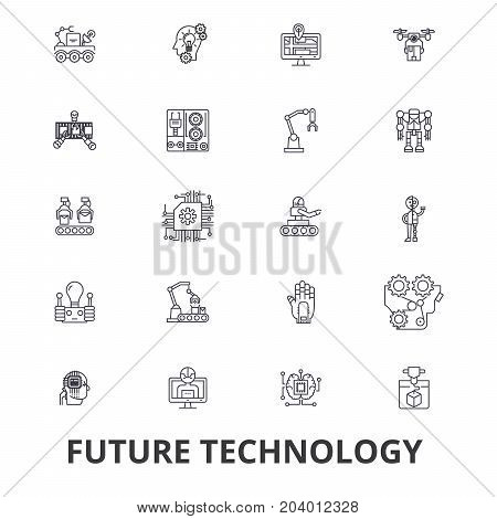 Future technology, future vision, futuristic, business, robot, cyborg, control line icons. Editable strokes. Flat design vector illustration symbol concept. Linear signs isolated on white background