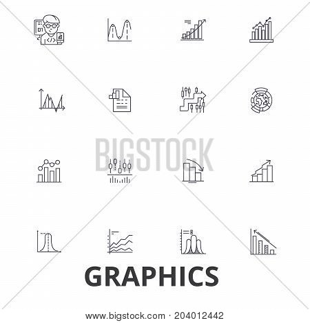 Graphics, graph, infographic, design, chart, graphic element, illustration, logo line icons. Editable strokes. Flat design vector illustration symbol concept. Linear signs isolated on white background