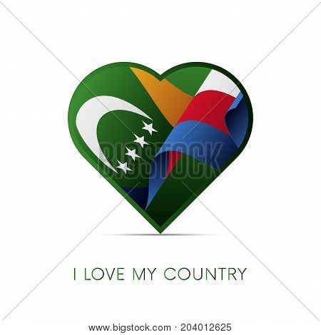 Comoros flag in heart. I love my country. sign. Vector illustration.