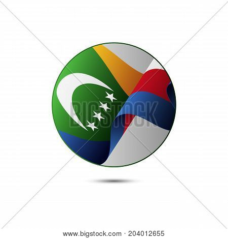 Comoros flag button with shadow on a white background. Vector illustration.