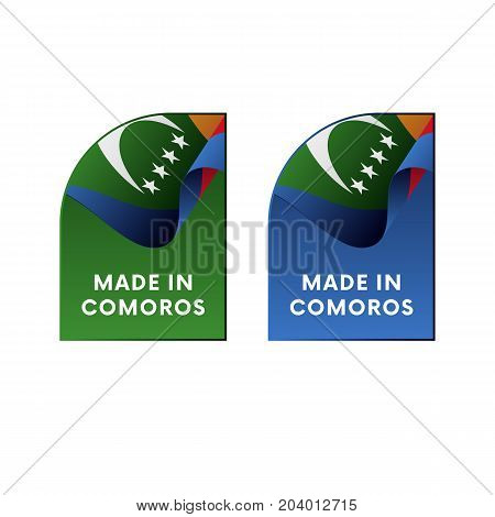 Stickers Made in Comoros. Waving flag. Vector illustration.