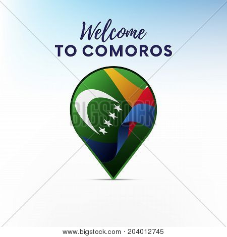 Flag of Comoros in shape of map pointer or marker. Welcome to Comoros. Vector illustration.