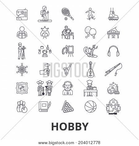 Hobby, passion, interest, sports, fishing, art, knitting, painting, golf, garden line icons. Editable strokes. Flat design vector illustration symbol concept. Linear signs isolated on white background