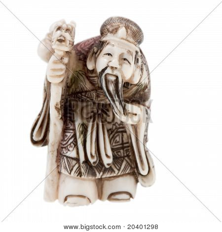 Statuette Of Chinese  God Of Wealth - Tsai Shen On White Background