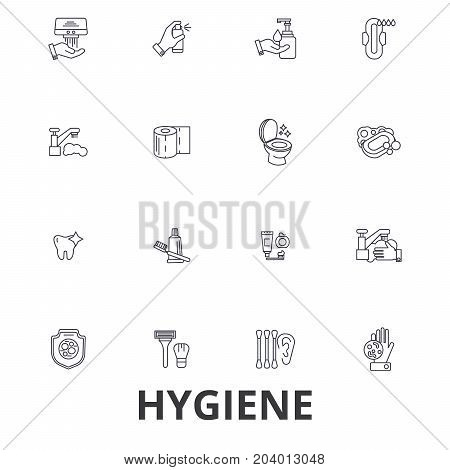Hygiene, cleaning, washing hand, personal hygiene, soap, sanitation, cleaner line icons. Editable strokes. Flat design vector illustration symbol concept. Linear signs isolated on white background