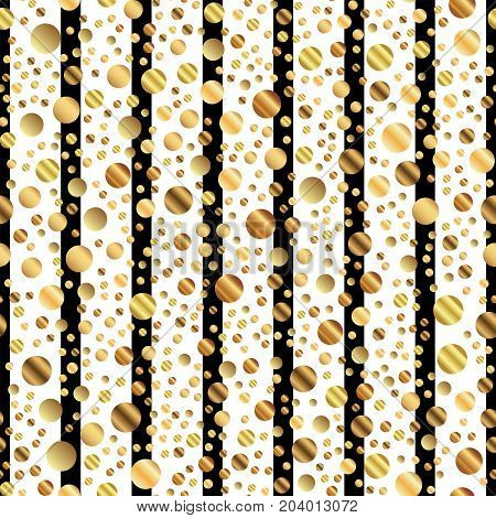 Golden Dots Seamless Pattern On Black And White Striped Background. Divine Gradient Golden Dots Endl