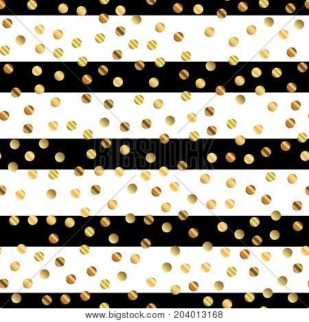 Golden Dots Seamless Pattern On Black And White Striped Background. Dazzling Gradient Golden Dots En