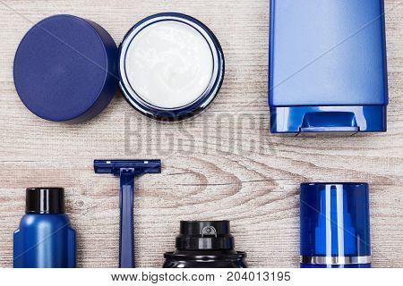 Close-up of cosmetic products for men. Set of male skin care essentials