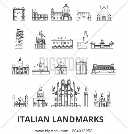 Italian landmakrs, italian, italian landscape, piza tower, cathedral, colosseum line icons. Editable strokes. Flat design vector illustration symbol concept. Linear signs isolated on white background