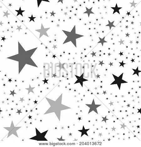 Black Stars Seamless Pattern On White Background. Unusual Endless Random Scattered Black Stars Festi