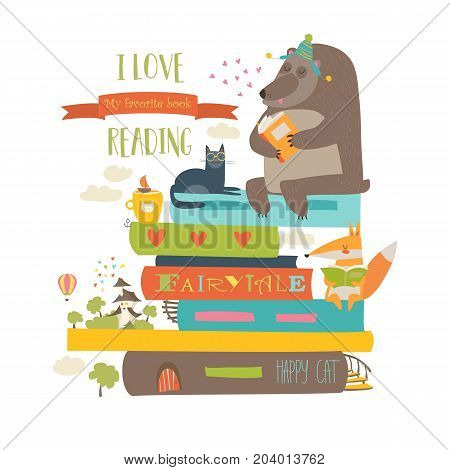 Cute cartoon animals reading books. Vector collection